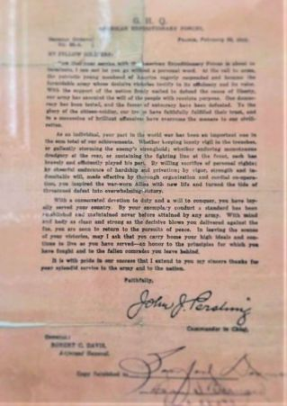 WWI Letter from General Pershing
